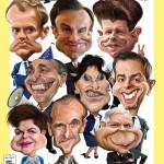 Okładka wydawnictwa z karykaturami autorstwa Dariusza Łabędzkiego